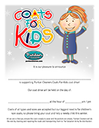 Puritan Cleaners Coats For Kids parent's letter