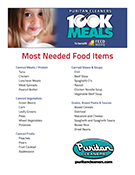 Puritan Cleaners 100K Meals Program foods needed list