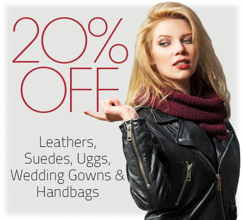 20% Off Leathers, Suedes, Uggs, Wedding Gowns & Handbags at Puritan Cleaners