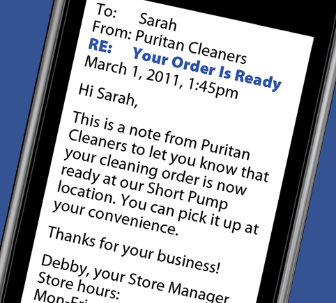 Order Ready instant notification from Puritan Cleaners