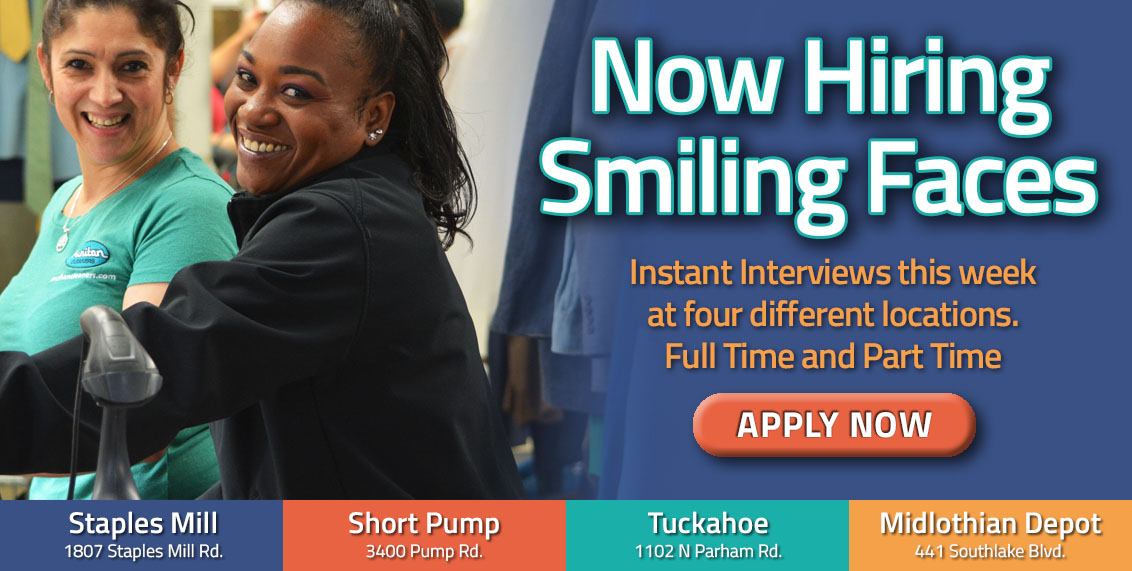 Puritan Cleaners is hiring smiling faces